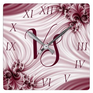 Pretty pink fractal. Silk imitation. Add monogram. Square Wall Clock
