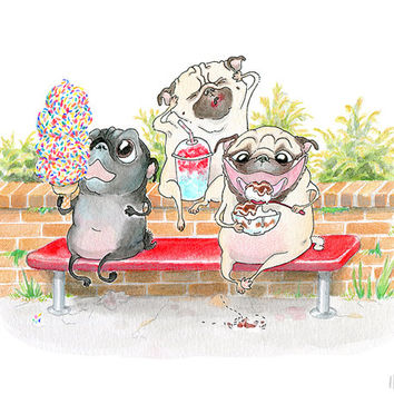 Pug Art Print - 5x7, 8x10, 8.5x11 - Ice Cream Cone, Ice Cream Sundae, Summer Art, Pug Kitchen Art, Fawn & Black Pugs Illustration by Inkpug