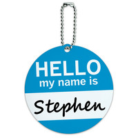 Stephen Hello My Name Is Round ID Card Luggage Tag