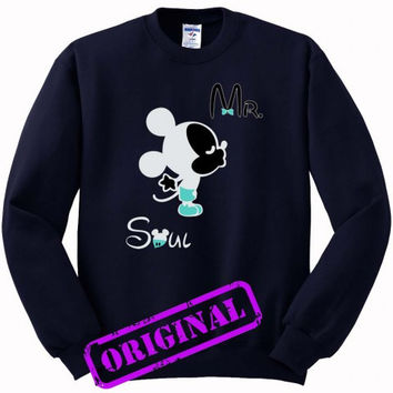 3 Mickey Kissing Minnie + Mr for men for Sweater navy, Sweatshirt navy unisex adult