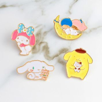 My melody pins Rabbit Bunny Moon Pins Brooches Backpack Denim jackets Jeans Bag Hat Decoration Accessories Cute pins for girl