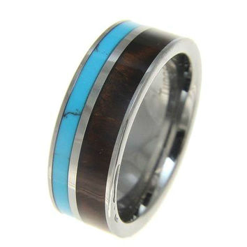 HERMES Tungsten Wedding Band With Natural Koa Wood & Turquoise Inlay 8mm