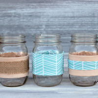 Fabric-Wrapped Mason Jar / Peach, Aqua, and Burlap, Choose Your Style / Mason Jar Centerpieces, Desk Accessories, Home Decor, Wedding Decor