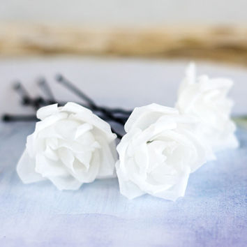 Best silk flower hair pins products on wanelo bridal white silk flower pin white silk hair flower white rose mightylinksfo