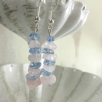 Rose Quartz Earrings, Serenity Earrings, Pink and blue earrings
