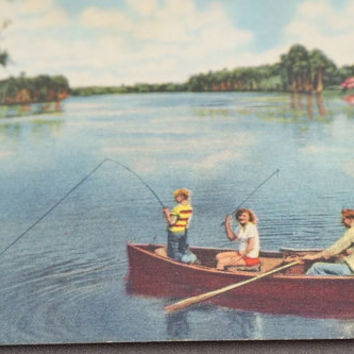 Vintage Florida Postcard Unused Card Fishing Picture