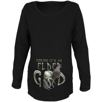 PEAPGQ9 Halloween Cthulhu Hoping it's an Elder God Maternity Soft Long Sleeve T Shirt