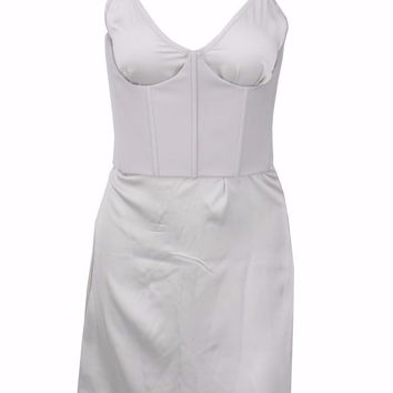 Silver Satin Mini Dress
