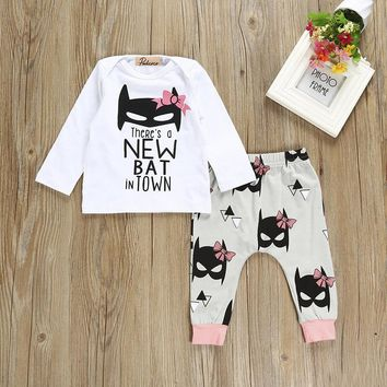 Pudcoco 2017 Newborn Baby Girls Pink Top Bat T-shirt+Pants Leggings Clothes Outfits Set 0-24M