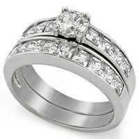 Round & Princess Cut CZ Stainless Steel Wedding Ring Set