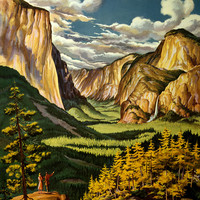 Yosemite United Air Lines Vintage Travel Poster