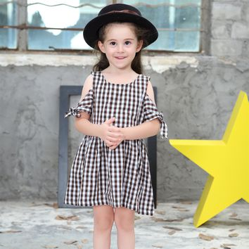 Baby Girl Dress 2017 Summer Princess Dresses Kids Clothing 100% Cotton Plaid Party Dress Casual Children Costume Girls Clothes