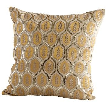 Indian Summer Gold Beaded & Sequined Square Decorative Throw Pillow by Cyan Design
