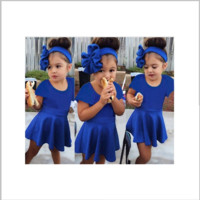 Girls Royal Blue Dress and Headband