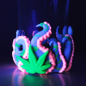 Cannabis/Octopus Votive Candle Holders-purple/yellow - 420, gift for him, medical marijuana, cool, birthday, men, weed pot