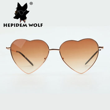 2016 New Brand Designer Women's Sunglasses Heart Shaped Glasses Love Style Sexy Print Elegant Unique Vintage Shade Colorful
