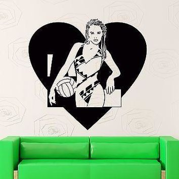 Wall Stickers Vinyl Decal I Love Volleyball Sport Decor With Girl Teen  Unique Gift (z2176)
