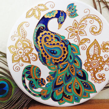 Peacock plaque Peacock painting Mehendi decor