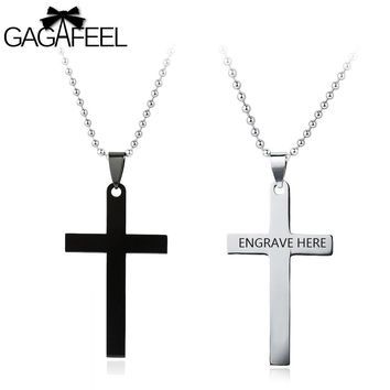 GAGAFFEL Custom Cross Shape Necklace Stainless Steel Laser Engrave Logo Necklaces Pendant Lover Jewelry Gifts For New Year