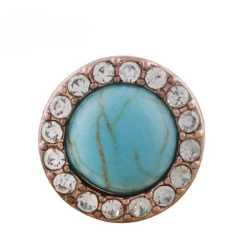 "Snap Charm Rose Gold Turquoise Stone 12mm Mini 1/2"" Diameter Fits Ginger Snaps"