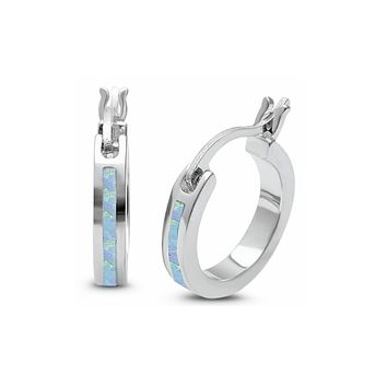 Sterling Silver Small White Opal Hoop 20mm Earrings
