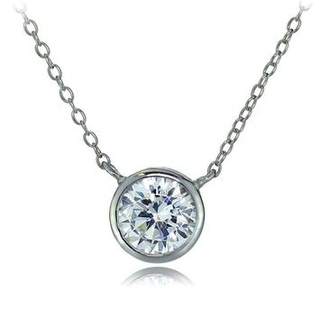 Sterling Silver Bezel-Set Cubic Zirconia Round Solitare Necklace