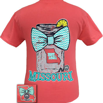 Girlie Girl Originals Missouri Chevron Mason Jar Preppy State Bow Bright T Shirt