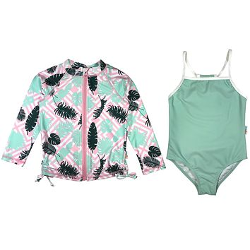 "Girl One-Piece Swimsuit and Long Sleeve Rash Guard Set UPF 50+ | ""Palm Breeze"""