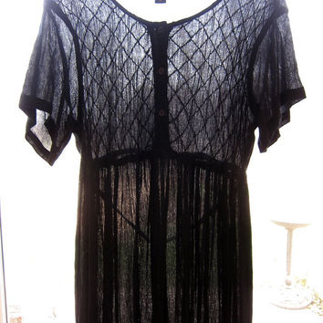 Sheer Black Rayon Dress 90s Long Embroidered Short Sleeve Button Front Babydoll Dress Vintage India Slip Dress Loose Minimal Dress Medium