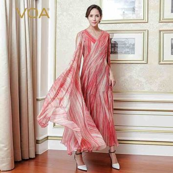 VOA Haute Couture Silk Slim Runway Party Dress Sleeveless Cloak Plus Size 2018 Spring Summer Sexy V Neck Women Dress ALX11901