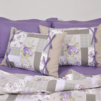 Floral Cottage Bedding Set in Lavender Purple Beige, Rose Patchwork Print for King, Cal King- Set of Duvet Cover, Sheet, Sham & Pillow Cases