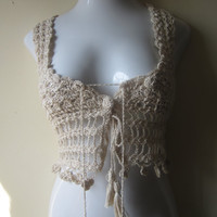 Cropped crochet camisole top, festival clothing, beach wear, gypsy, bohemian princess
