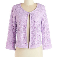 ModCloth Pastel Short 3 Honors and Upwards Jacket in Lilac