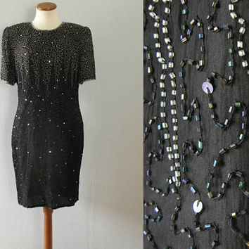 black sequined dress - 80s vintage Laurence Kazar silk silver disco cocktail party beaded trophy mini zig zag evening glam metallic formal