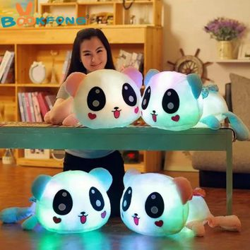 BOOKFONG 35cm Colorful Led Pillow Glowing Panda Plush Doll Luminous Toys Birthday Gift for Girls