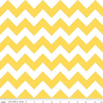 Yellow and White Medium Chevron Cotton Fabric from Riley Blake Designs, 1 Yard, More Yardage Available