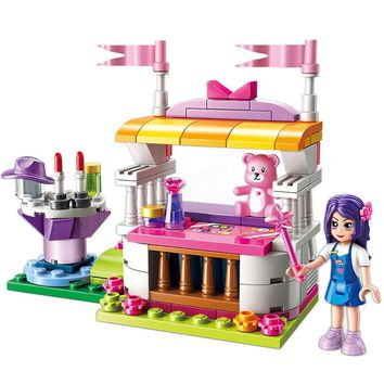 ENLIGHTEN City Friends Princess Cosmetics Doll Colorful Holidays Stall Stage Building Blocks Sets Kids Toys Compatible Legoings