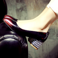 Summer Leather Square Toe Rhinestone With Heel Simple Design Shoes [6048881985]