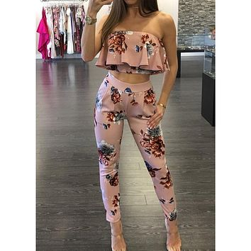 Off Shoulder Sexy Floral Print Jumpsuits Two Piece Backless Club Rompers Women's Jumpsuit Strapless Full Bodysuit Summer Overalls