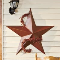 "Barn Star Rustic Tin Large 36"" Indoor Outdoor Brown Garden Country Decor Farm"