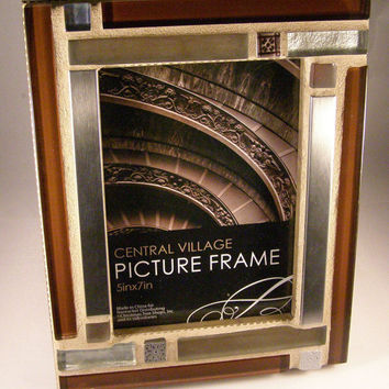 Silver Brown Glass Stainless Steel Photo Frame, Cyber Monday 10% Sale,  5 x 7 Frame, Christmas Gift, Unisex Gift, Holiday Gift
