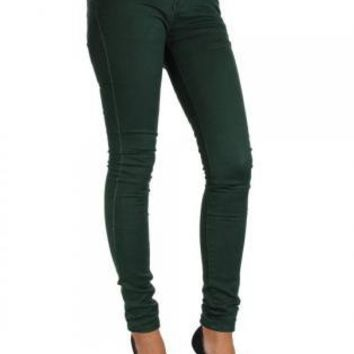 Dark Green Skinny Jeans with Gold Stud Belt