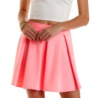 Bright Pink Neon Pleated Skater Skirt by Charlotte Russe