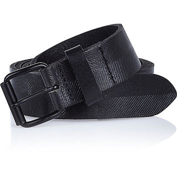 River Island MensBlack leather textured belt