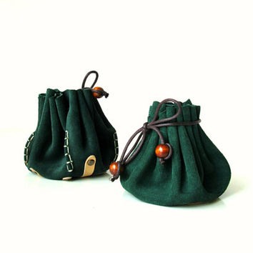 Drawstring leather pouch, Coin Purse, Jewelry bag, Boho style, Dark Emerald green