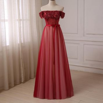 Off The Shoulder Burgundy Prom Dresses A-line Floor Length Tulle Evening Party Gowns Boat Neck