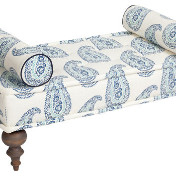 Kim Salmela, Taza Paisley Bench, Blue, Entryway Bench, Bedroom Bench