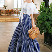 Striped Belted Maxi Skirt