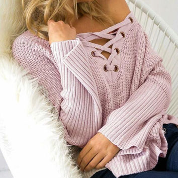 V - Neck  Lace Drawstring Knitted Sweater B0013707