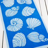 Martha Stewart Collection Seashells Blue Beach Towel